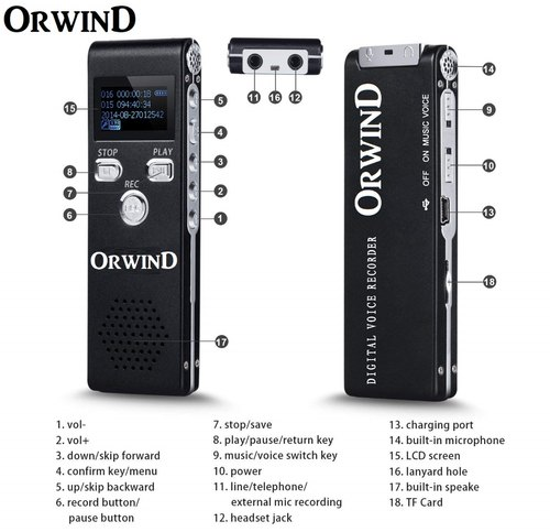 Black ORWIND Digital Audio Voice Recorder, Memory Size: Upto 128gb