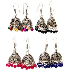 Cl Code German Silver Oxidised Office Daily Wear Fashion Jewellery Jaipuri Hanging Earrings