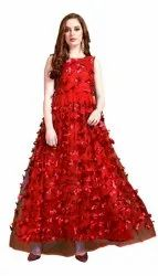 Georgette Semi-Stitched Gown, Size: Large, Age Group: 10 - 20