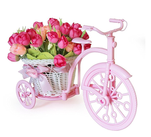 213 & Tied Ribbons Cycle Shape Flower Vase With Peonies Bunches