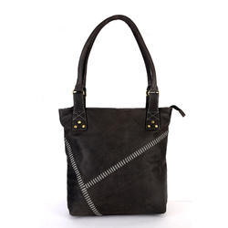 Hawai Grey Leather Shoulder Bag For Women In