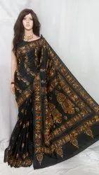 Art Silk Kantha Stitch Work Saree