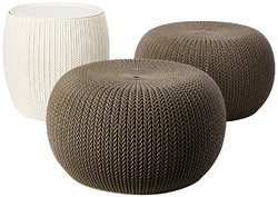 3 Piece Compact Indoor/Outdoor Table & 2 Seating Poufs