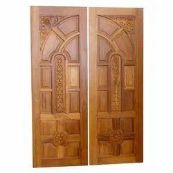 Exterior Swing Teak Wood Double Door
