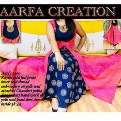 Aarfa 1900 Rayon Gold Foil Print Gown