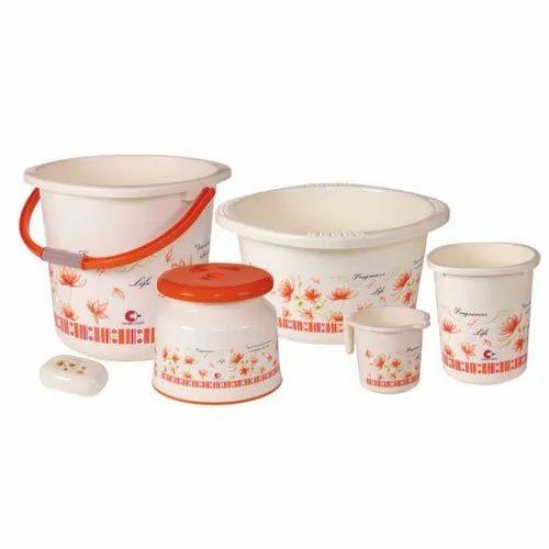 Plastic Orange Bath Set Rs 555 Set Royal Plastic Crockery Id 20769858133