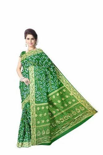 All Over Green Color Gaji Silk Bandhani Saree
