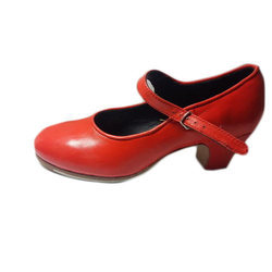 Ladies Leather Red Dancing Belly Shoes