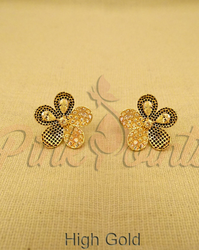 Copperbrassalloy Transparent Yellow Variant Pettles Antique Earrings, Size: Free Size