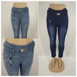 Skinny Button Ladies Stretchable Denim Jeans, Waist Size: 28-34 Inch