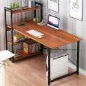 Kawachi Computer Desk Writing Study Table with 4 Tier Bookshelves for Home, Office KW25