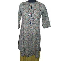 Womens Round Neck Double Layered Designer Kurti