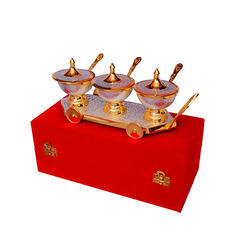 Tableware Silver And Gold Plated Trolley Set