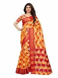 Yellow Colored Poly Silk Jacquard Casual Wear Saree