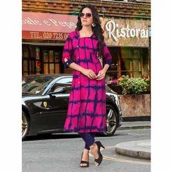 Cotton Straight Ladies Printed Pink Long Kurti