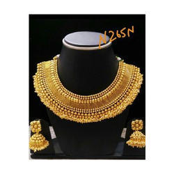 Anniversary And Party Golden Designer Gold Plated Necklace Set