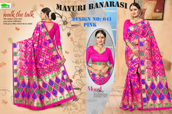 Vatsla enterprise Pink colour Heavy Banarasi Silk Saree, With Blouse Piece