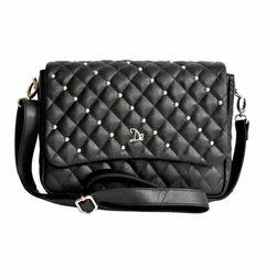 Black Dezerae Starlit Leather Handbags, Pure Leather: No