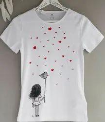 Half Sleeves Printed Ladies T-shirt