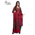 Red Cashmilon Unstitched Printed Woolen Suit
