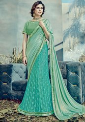 Firozi and Mint Green Designer Lehenga Saree