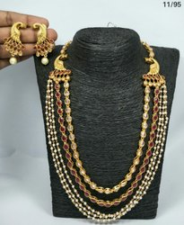 Golden Brass Indian Ethnic Peacock Jewellery, Wedding, Jewellery Type: Necklace