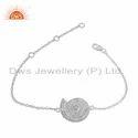 Pearl Stone Ammonite Shell Sterling Fine Silver Chain Bracelet