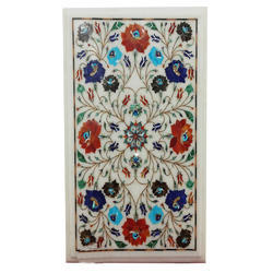 White Marble Inlay Table Top, Pietre Dure Table