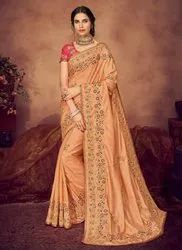 Kesari Export Peach Designer Embroidered Wedding Wear Sarees with Blouse Piece