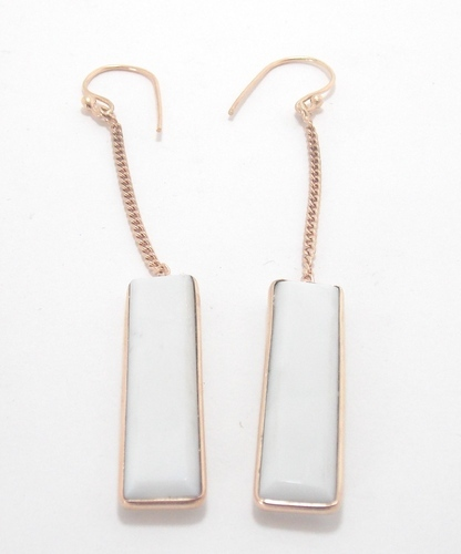 925 Sterling Silver Women White Chalcedony Threader Earrings, Packaging Type: Box