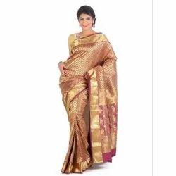 Printed Party Wear Pure Silk Saree, 5.5 m (separate blouse piece)