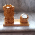 Handcrafted Wooden Pen Holder With Watch
