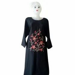 Cotton Straight Rayon Embroidery Kurti, Size: M, L