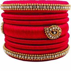 Red  Handmade Silk Thread Bangle Set