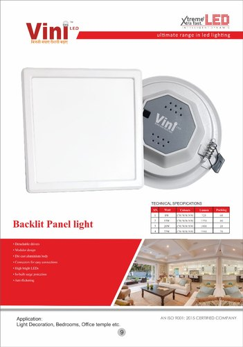 Panel Light 15w Back Lit Panel Manufacturer From Delhi
