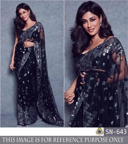 Butterfly Mono net Sari Blouse Indian Saree with Inner Sari Grey color work