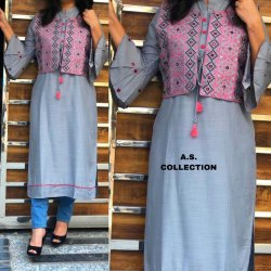 Straight 3/4th Sleeve Cotton Kurti With Jacket, Size: 42, 44