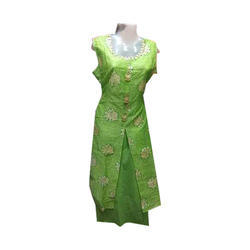 Silk Ladies Round Neck Long Kurti, Size: L & XL