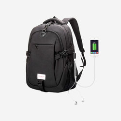 Polyster Black And Grey Anti Theft Laptop Backpack Bag