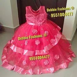 Party Wear Peach Kids Ball Gowns