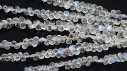 AAA Natural White Rainbow Moonstone Heart Shape Faceted Briolette Beads Strands