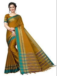 Cotton Silk Party Wear Mustard Saree With Blouse Piece