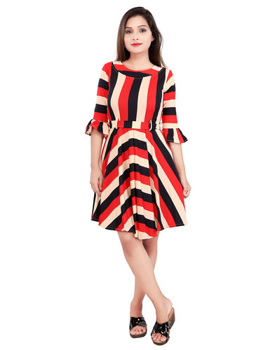 1ea80f04b9d Women Stretchable Lycra Round Neck Striped Short Dress 3603