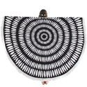 Black Round Beach Throw Tapestry