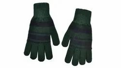 Dark Green Striped Winter Gloves