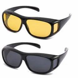 Day & Night HD Vision Goggles Anti-Glare Polarized Uv Protected Rectangular Unisex Sunglasses