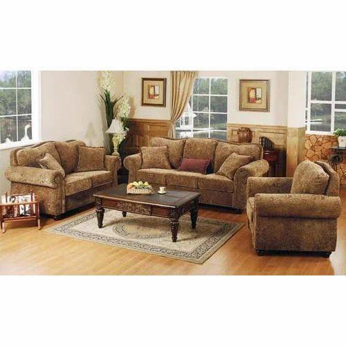 5 Seater Wood Brown Designer Fabric Sofa Set Rs 6000 Set Id