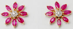fantastic fashionable floral design earring with ruby and diamond clustter