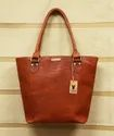 Handled Plain Brown Leather Tote Bag, Size: 16 X 12 Inch