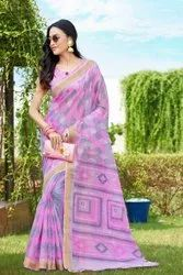 Mix Party Wear Thankar Printed Cotton Saree, 6.3 m (with blouse piece)